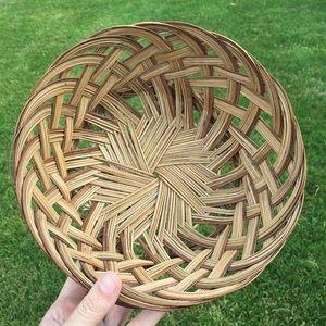 Vintage rattan wicker woven basket